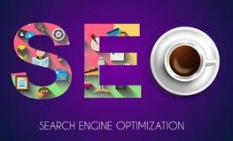 Concept d'optimisation de moteur de SEO Search avec la conception plate illustration libre de droits