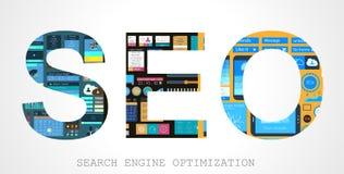 Concept d'optimisation de Search Engine de Seo illustration stock