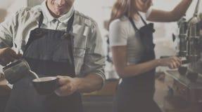 Concept d'ordre de Prepare Coffee Working de barman Image stock