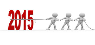 Concept. 3d people - men, person pull rope. New Year metaphor. 2015 Royalty Free Stock Photography