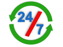 24 by 7 concept. 3d render of text 24/7 with arrows in circular shape depicting round the clock concept Royalty Free Stock Photography