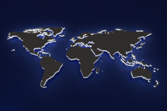 Concept 3d rendering of dark glowing globe map Stock Images
