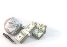 Concept 3d rendering 100 dollar Money of Business world on white Stock Photos