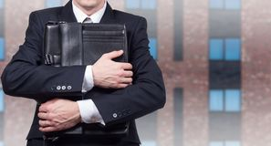 Concept d'un homme d'affaires soumis à une contrainte sous pression Crainte de la perte de travail image libre de droits
