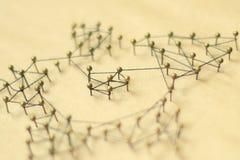 Concept d'un réseau social avec le chef Images stock