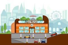 Concept d'un supermarché avec le stationnement souterrain Disposition sur le fond de la ville illustration libre de droits