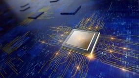 Concept d'unité centrale de traitement de processeurs d'ordinateur central illustration stock