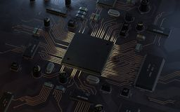 Concept d'unité centrale de traitement de processeurs d'ordinateur central illustration de vecteur