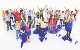 Concept d'unité de télécommunication mondiale d'amitié de la Communauté Images stock