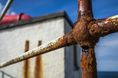 Concept of the danger from a rotten handrail Royalty Free Stock Photography