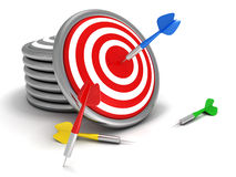 Concept darts target with colorful dart arrows. 3d Stock Photo