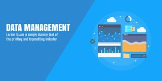 Data management, data solution, information, cloud computing, data on screen concept. Flat design vector banner. Concept of data management and solution Royalty Free Stock Image
