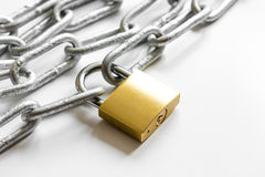 Concept data protection metal chain on white background Royalty Free Stock Images