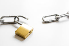 Concept data protection metal chain on white background Stock Photography