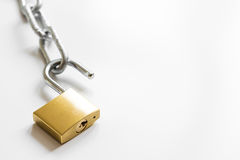 Concept data protection metal chain on white background Stock Images