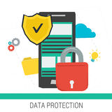 Concept data protection and safe work online Royalty Free Stock Photos