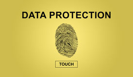 Concept of data protection. On yellow background Stock Photography