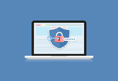 Concept is data security .Shield on Computer Laptop protect sens Royalty Free Stock Photo