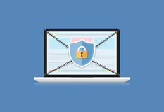 Concept is data security .Shield on Computer Laptop protect sens Royalty Free Stock Photography