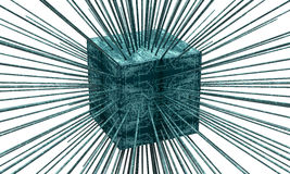Concept of a data server box with data streams Royalty Free Stock Photos