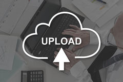 Concept of data upload. Data upload concept illustrated by a picture on background Stock Photos