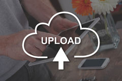 Concept of data upload. Data upload concept illustrated by a picture on background Royalty Free Stock Image