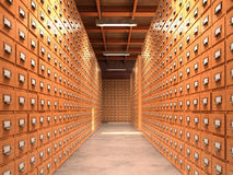 Concept of a database. The corridor has wooden cabinets for the. Archives. 3D illustration Stock Images