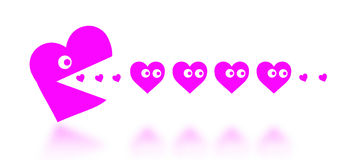 Concept of dating - big Pacman heart hunting small hearts Stock Image
