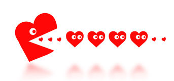 Concept of dating - big Pacman heart hunting small hearts Royalty Free Stock Photography