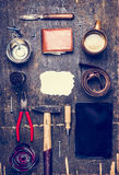 Concept of the day of his father, a variety of men's accessories and tools, plate, belt, knife, shaving brush  top view Royalty Free Stock Photo