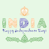 Concept for the day of India independence from the mehndi design elements in tricolor colors.  Stock Image