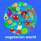 The concept of the day vegetarian - a range of vegetables and fruits on the background of the world globe royalty free illustration