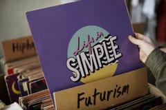 Concept de achat de classique de vieille école de musique de magasin de disque vinyle Photos libres de droits