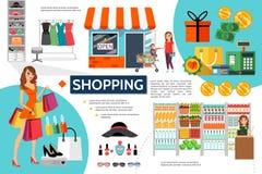 Concept de achat plat d'Infographic Photographie stock libre de droits