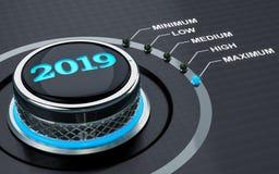 concept de 2019 ans, bouton 3d illustration libre de droits