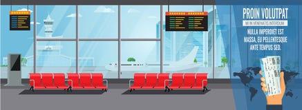 Concept de attente intérieur de Hall Departure Lounge Modern Terminal d'aéroport Illustration plate haut détaillée de vecteur de  illustration libre de droits