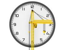 Concept de bâtiment de temps Levage de la grue avec l'horloge moderne illustration de vecteur