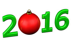 Concept: De bal van jaar 2016 Kerstmis Royalty-vrije Stock Foto's