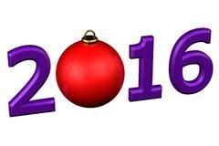 Concept: De bal van jaar 2016 Kerstmis Royalty-vrije Stock Afbeeldingen