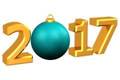 Concept: De bal van jaar 2017 Kerstmis het 3d teruggeven Stock Foto's
