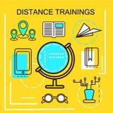 Concept de bannière de formations de distance Éducation en ligne Ligne mince icônes Illustration de vecteur Pour les bannières de illustration de vecteur