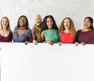 Concept de bannière de l'espace de copie d'unité d'amitié de filles Photographie stock libre de droits