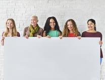 Concept de bannière de l'espace de copie d'unité d'amitié de filles Photo stock