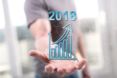 Concept de bedrijfsgroei in 2018 Stock Afbeeldingen