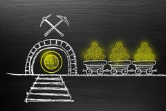 Concept de Bitcoin Cryptocurrency Sur le tableau noir avec le griffonnage de craie, image libre de droits
