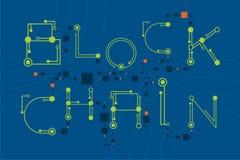 Concept de Blockchain avec le style de police numérique et de l'électronique Images libres de droits