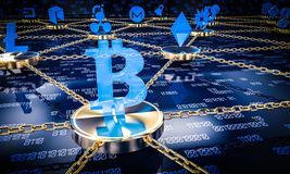 concept de blockchain des FO du fond 3d illustration libre de droits