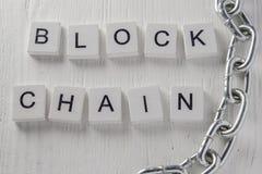 Concept de blockchain de technologie de réseau de distribution blanc Photos libres de droits