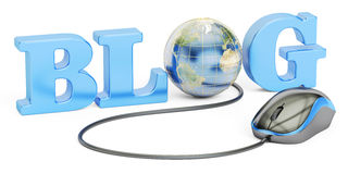Concept de blog, rendu 3D d'isolement sur le fond blanc Image stock
