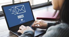 Concept de boîte de réception de message d'enveloppe de correspondance d'email images stock